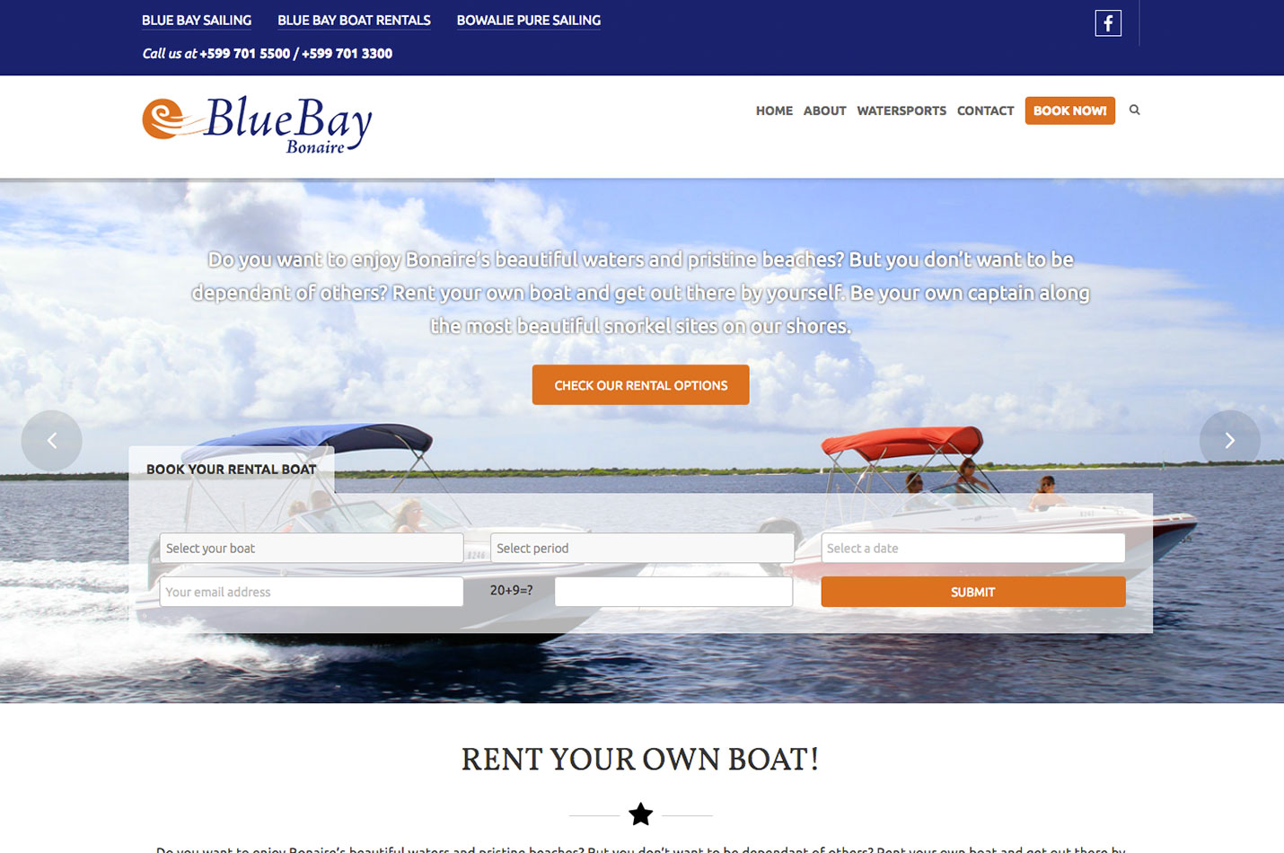 blue bay bonaire website design